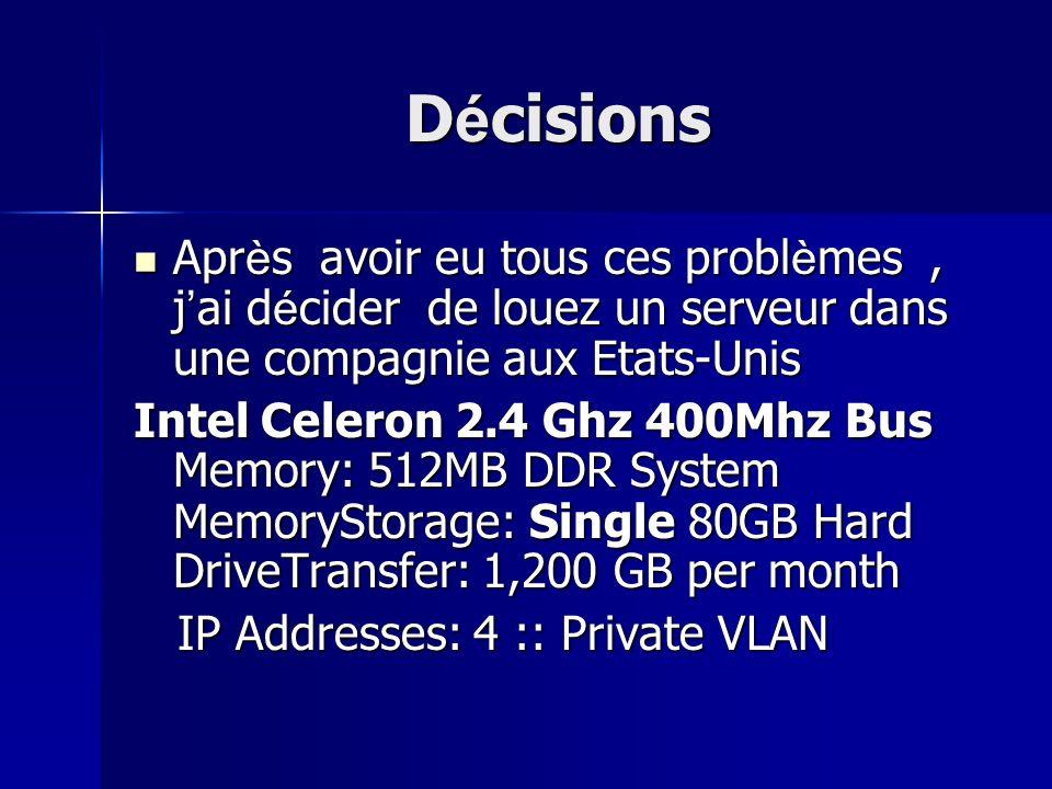 Décisions Après avoir eu tous ces problèmes, jai décider de louez un serveur dans une compagnie aux Etats-Unis Intel Celeron 2.4 Ghz 400Mhz Bus Memory