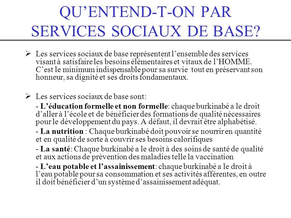 QUENTEND-T-ON PAR SERVICES SOCIAUX DE BASE? Les services sociaux de base représentent lensemble des services visant à satisfaire les besoins élémentai