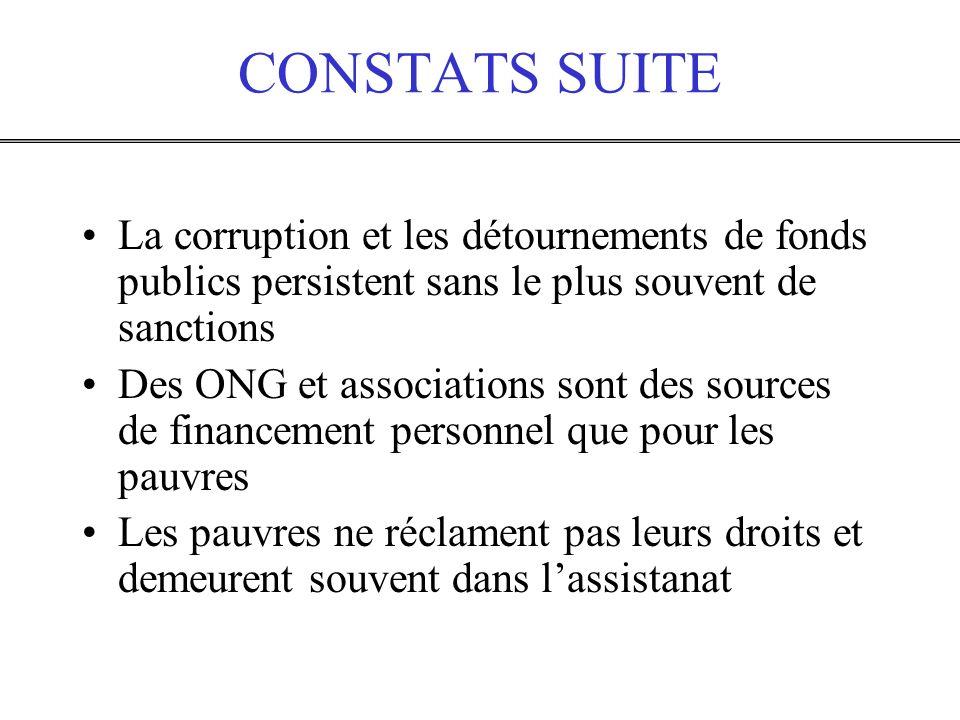CONSTATS SUITE La corruption et les détournements de fonds publics persistent sans le plus souvent de sanctions Des ONG et associations sont des sourc