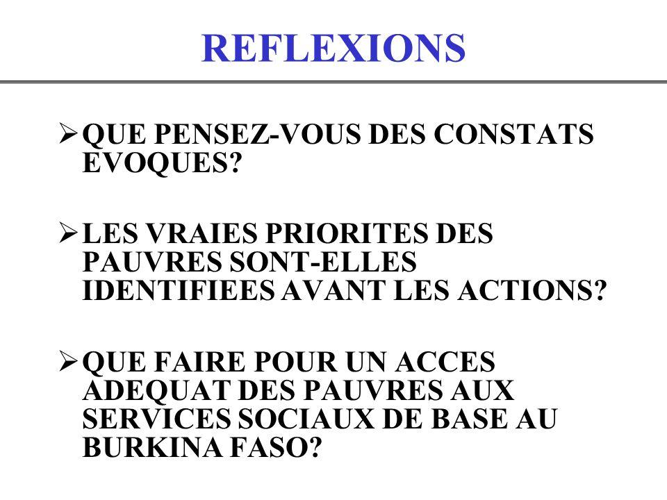 REFLEXIONS QUE PENSEZ-VOUS DES CONSTATS EVOQUES? LES VRAIES PRIORITES DES PAUVRES SONT-ELLES IDENTIFIEES AVANT LES ACTIONS? QUE FAIRE POUR UN ACCES AD