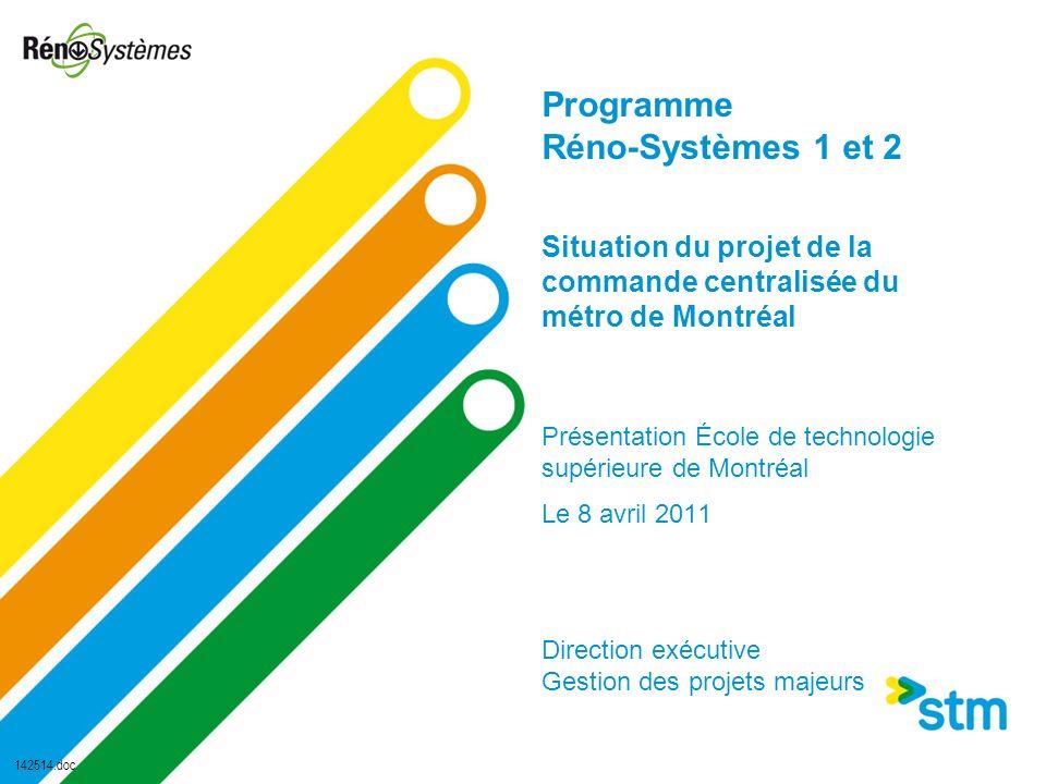 Programme Réno-Systèmes 1 et 2 Situation du projet de la commande centralisée du métro de Montréal Présentation École de technologie supérieure de Mon