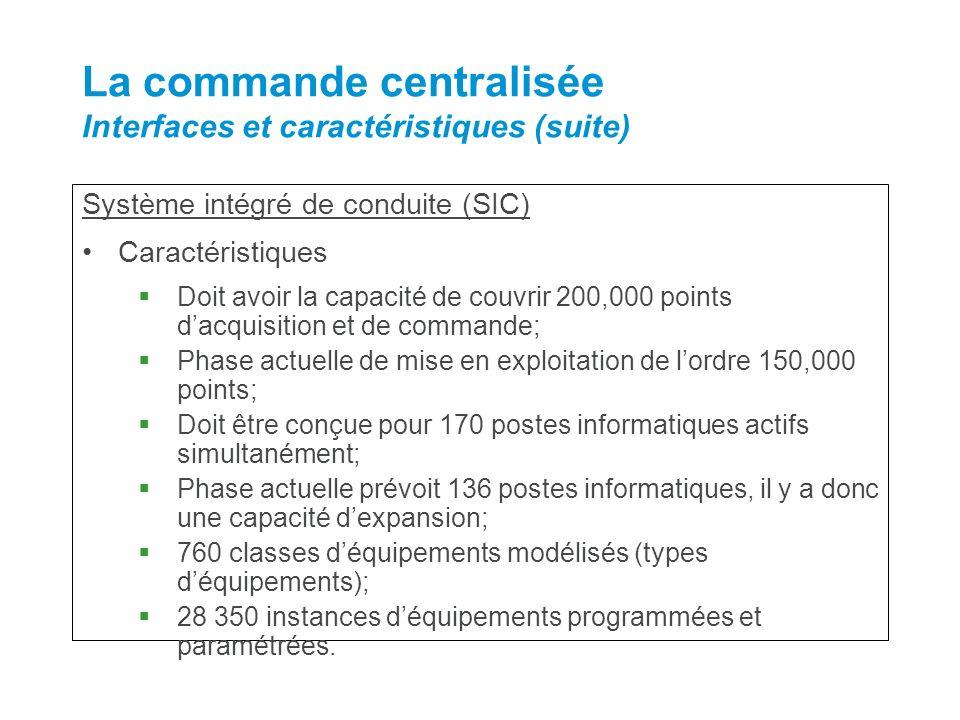 Système intégré de conduite (SIC) Caractéristiques Doit avoir la capacité de couvrir 200,000 points dacquisition et de commande; Phase actuelle de mis