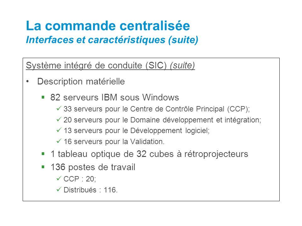 Système intégré de conduite (SIC) (suite) Description matérielle 82 serveurs IBM sous Windows 33 serveurs pour le Centre de Contrôle Principal (CCP);