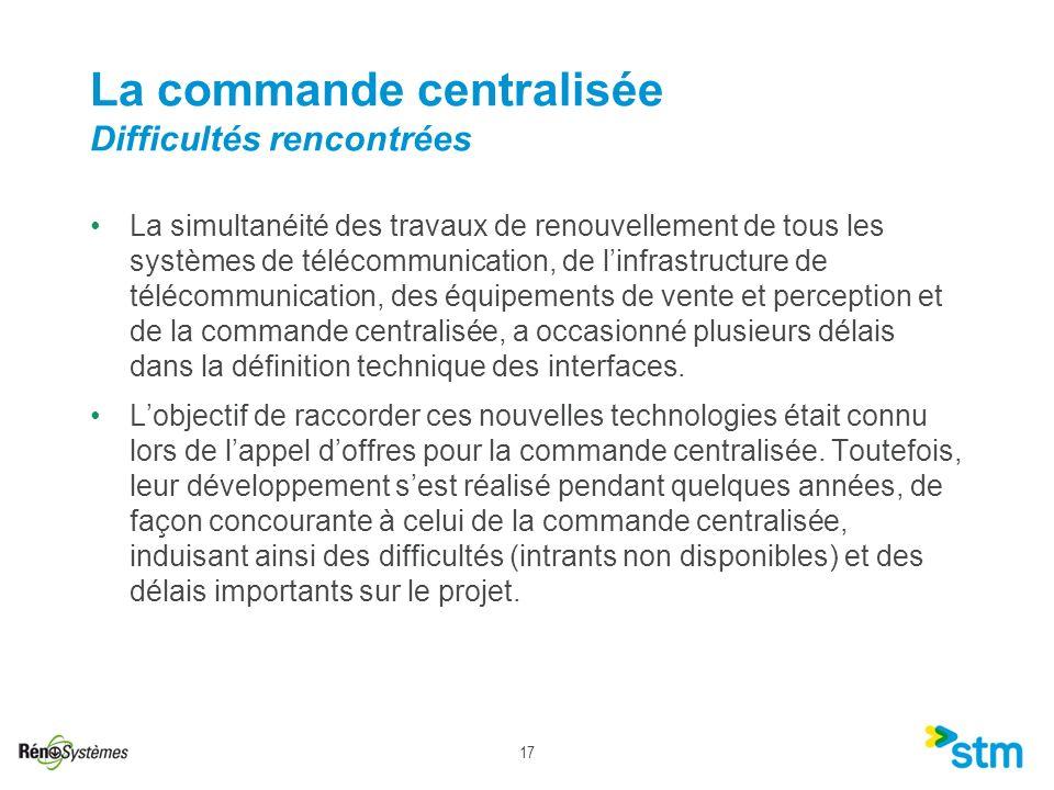 17 La simultanéité des travaux de renouvellement de tous les systèmes de télécommunication, de linfrastructure de télécommunication, des équipements d