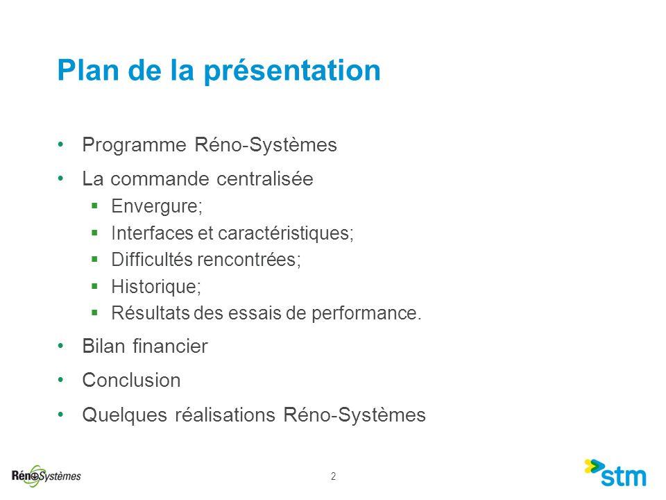 2 Plan de la présentation Programme Réno-Systèmes La commande centralisée Envergure; Interfaces et caractéristiques; Difficultés rencontrées; Historiq