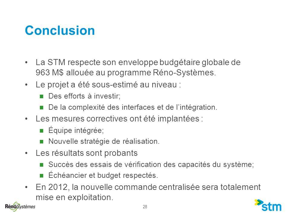 28 Conclusion La STM respecte son enveloppe budgétaire globale de 963 M$ allouée au programme Réno-Systèmes. Le projet a été sous-estimé au niveau : D