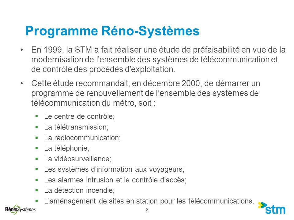 3 Programme Réno-Systèmes En 1999, la STM a fait réaliser une étude de préfaisabilité en vue de la modernisation de l'ensemble des systèmes de télécom