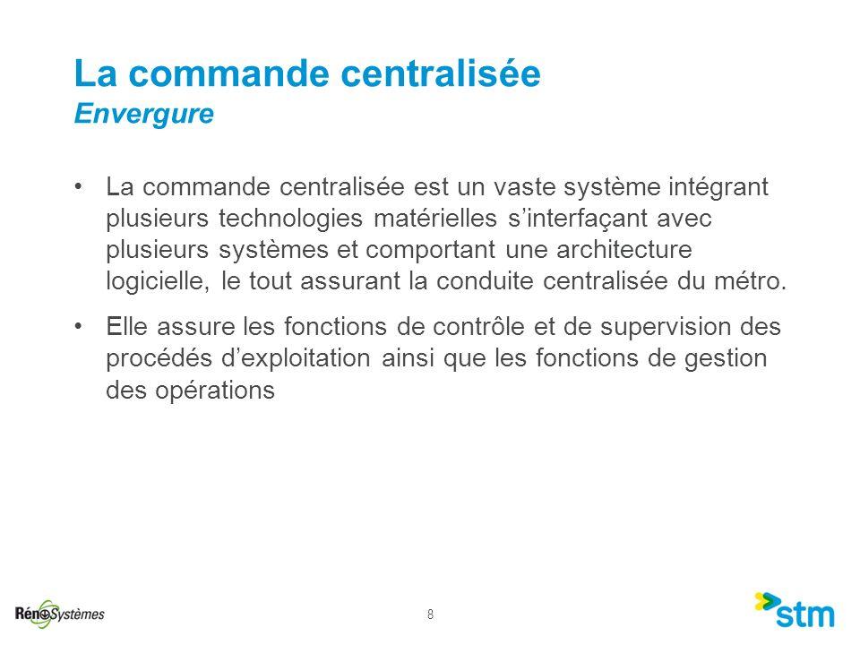 8 La commande centralisée est un vaste système intégrant plusieurs technologies matérielles sinterfaçant avec plusieurs systèmes et comportant une arc