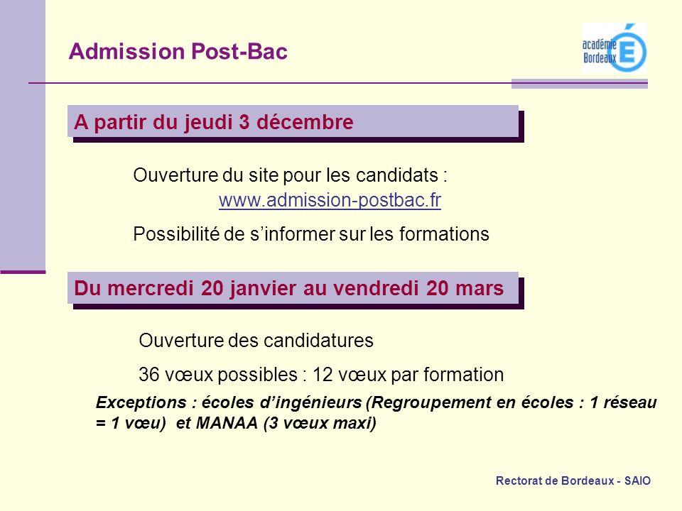 Rectorat de Bordeaux - SAIO A partir du jeudi 3 décembre Ouverture du site pour les candidats : www.admission-postbac.fr Possibilité de sinformer sur
