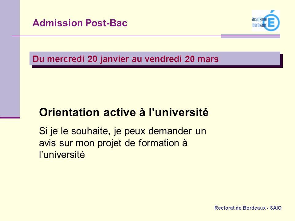 Rectorat de Bordeaux - SAIO Admission Post-Bac Du mercredi 20 janvier au vendredi 20 mars Orientation active à luniversité Si je le souhaite, je peux