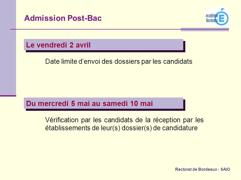 Rectorat de Bordeaux - SAIO Le vendredi 2 avril Date limite denvoi des dossiers par les candidats Du mercredi 5 mai au samedi 10 mai Vérification par