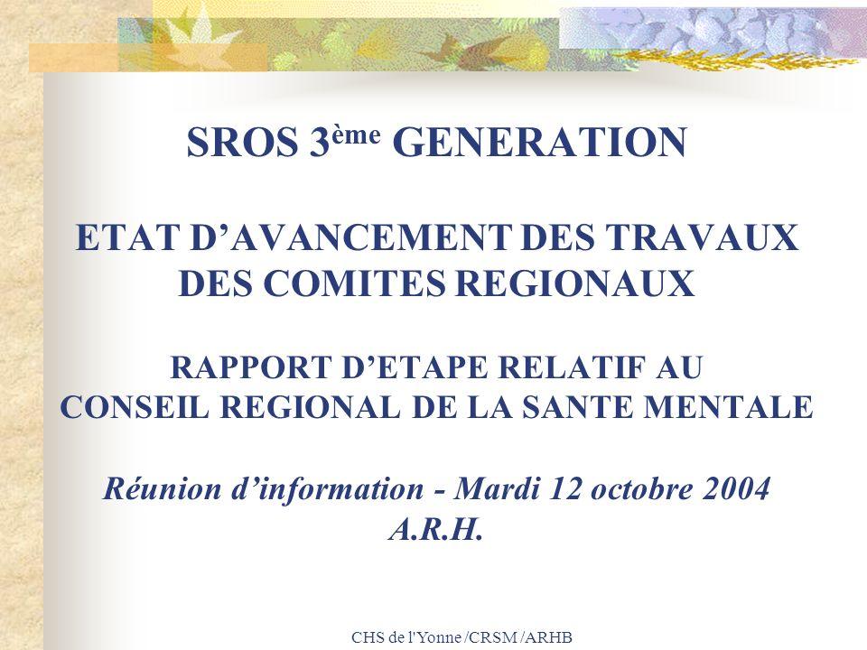 CHS de l'Yonne /CRSM /ARHB SROS 3 ème GENERATION ETAT DAVANCEMENT DES TRAVAUX DES COMITES REGIONAUX RAPPORT DETAPE RELATIF AU CONSEIL REGIONAL DE LA S