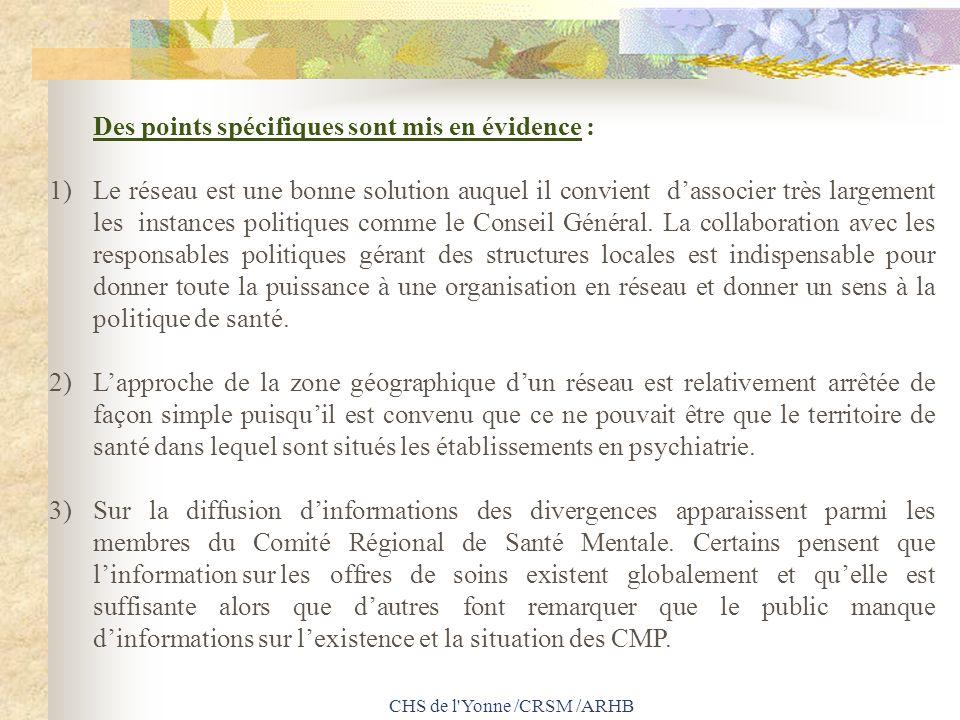 CHS de l'Yonne /CRSM /ARHB Des points spécifiques sont mis en évidence : 1) Le réseau est une bonne solution auquel il convient dassocier très largeme