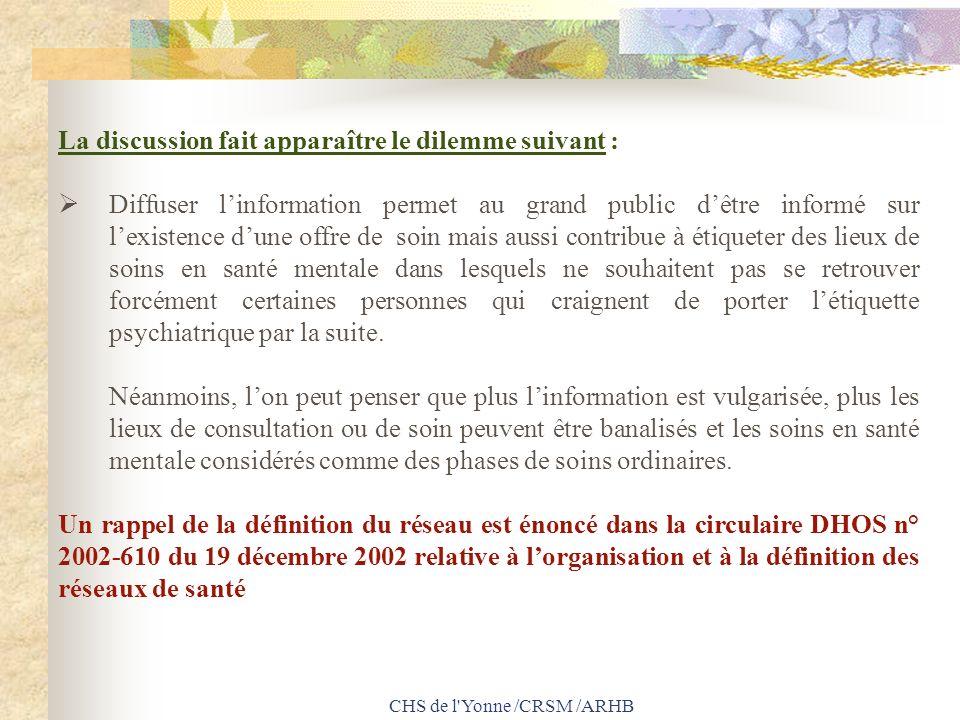 CHS de l'Yonne /CRSM /ARHB La discussion fait apparaître le dilemme suivant : Diffuser linformation permet au grand public dêtre informé sur lexistenc
