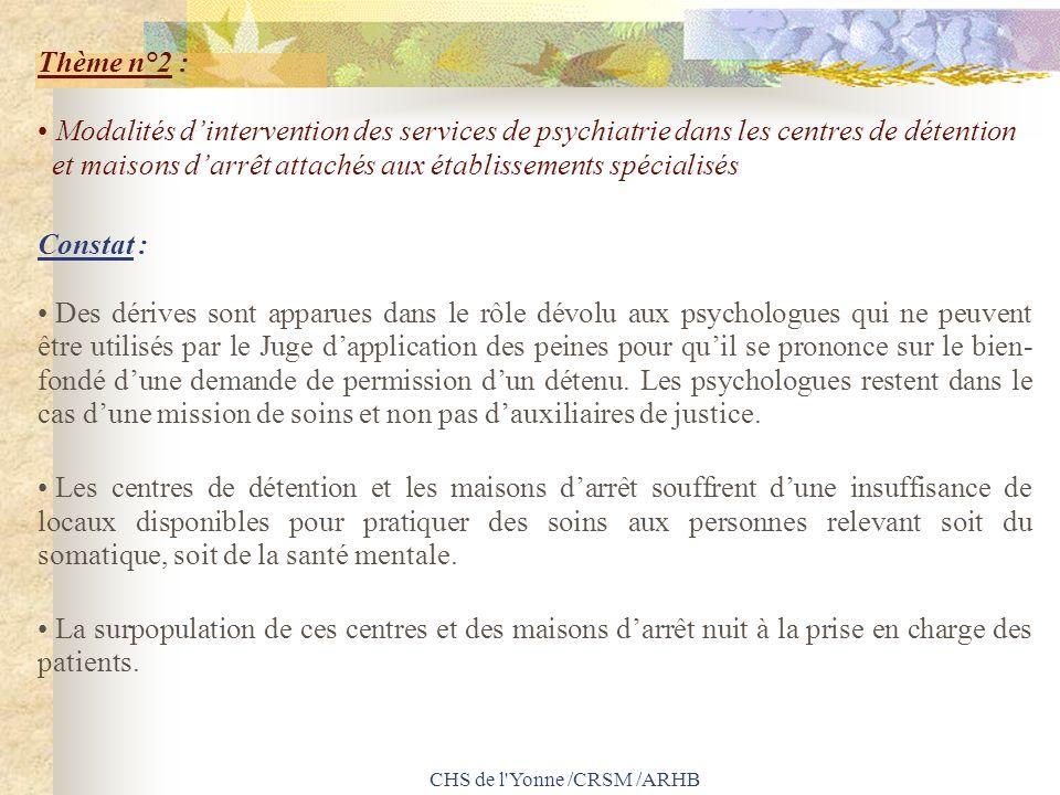 CHS de l'Yonne /CRSM /ARHB Thème n°2 : Modalités dintervention des services de psychiatrie dans les centres de détention et maisons darrêt attachés au