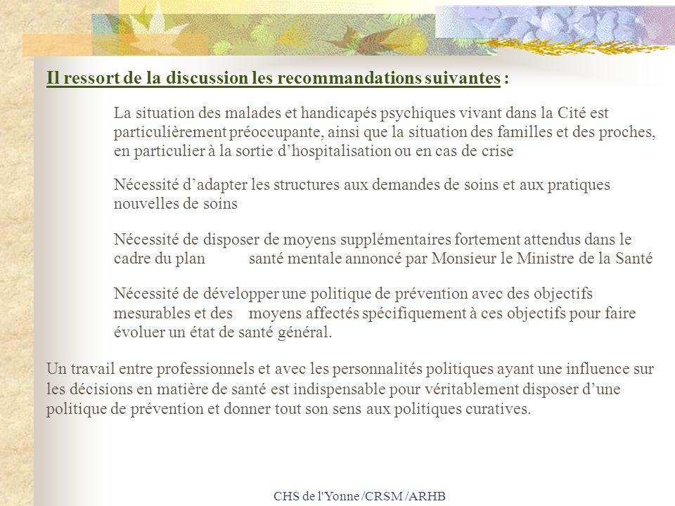 CHS de l'Yonne /CRSM /ARHB Il ressort de la discussion les recommandations suivantes : La situation des malades et handicapés psychiques vivant dans l