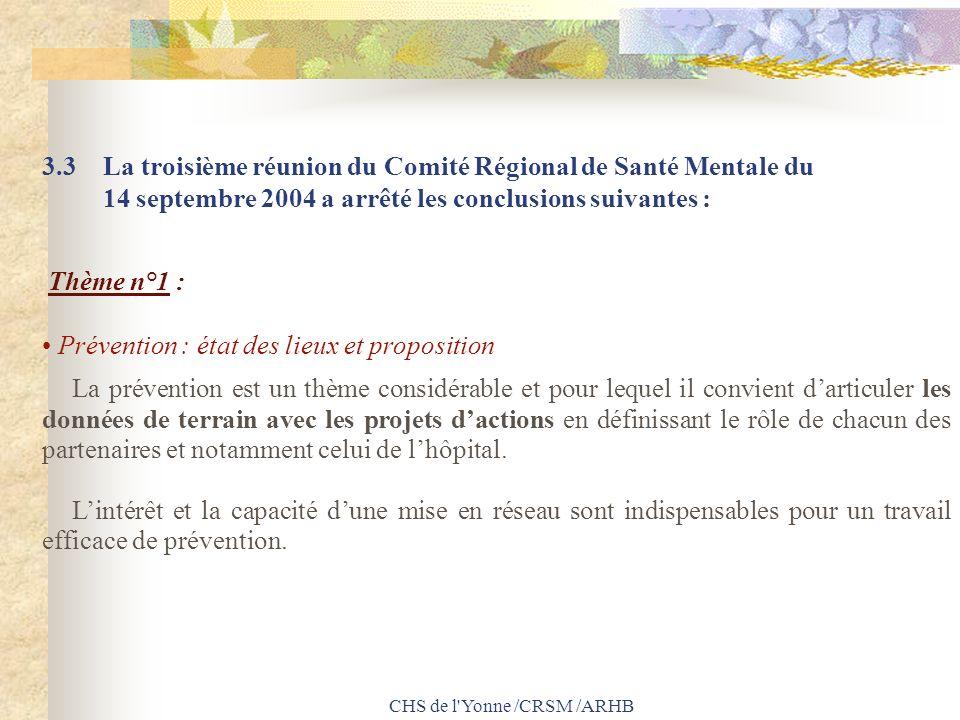 CHS de l'Yonne /CRSM /ARHB 3.3 La troisième réunion du Comité Régional de Santé Mentale du 14 septembre 2004 a arrêté les conclusions suivantes : Thèm