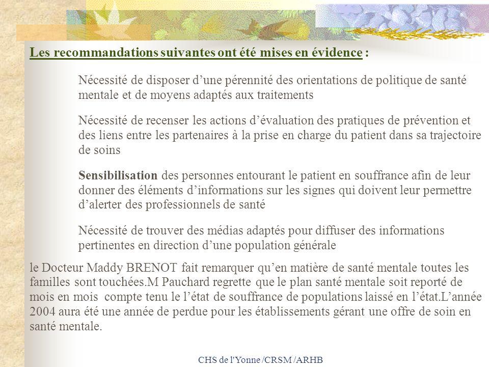 CHS de l'Yonne /CRSM /ARHB Les recommandations suivantes ont été mises en évidence : Nécessité de disposer dune pérennité des orientations de politiqu