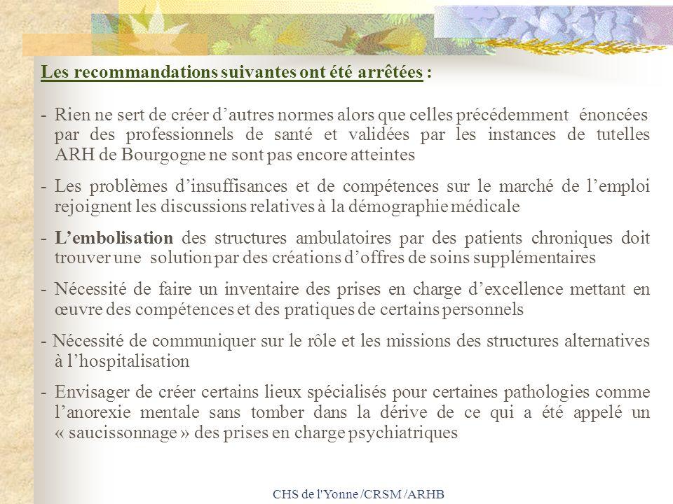 CHS de l'Yonne /CRSM /ARHB Les recommandations suivantes ont été arrêtées : -Rien ne sert de créer dautres normes alors que celles précédemment énoncé