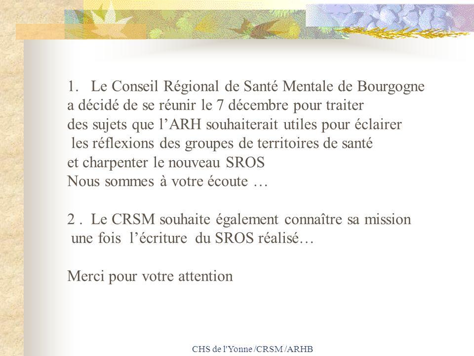 CHS de l'Yonne /CRSM /ARHB 1.Le Conseil Régional de Santé Mentale de Bourgogne a décidé de se réunir le 7 décembre pour traiter des sujets que lARH so