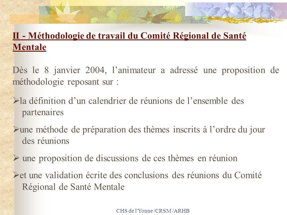 CHS de l'Yonne /CRSM /ARHB II - Méthodologie de travail du Comité Régional de Santé Mentale Dès le 8 janvier 2004, lanimateur a adressé une propositio
