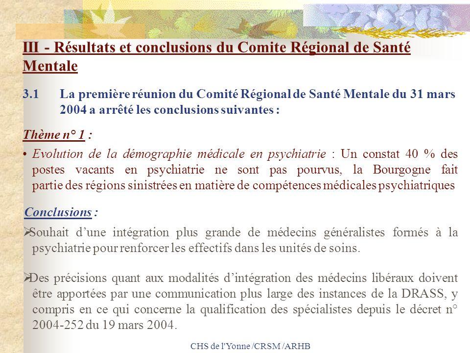 CHS de l'Yonne /CRSM /ARHB III - Résultats et conclusions du Comite Régional de Santé Mentale 3.1 La première réunion du Comité Régional de Santé Ment