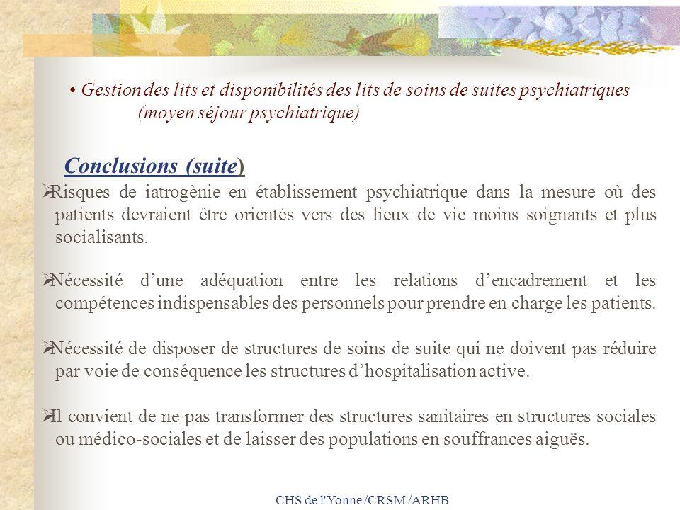 CHS de l'Yonne /CRSM /ARHB Risques de iatrogènie en établissement psychiatrique dans la mesure où des patients devraient être orientés vers des lieux