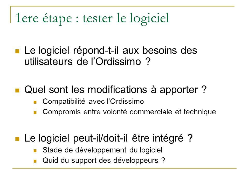 1ere étape : tester le logiciel Le logiciel répond-t-il aux besoins des utilisateurs de lOrdissimo ? Quel sont les modifications à apporter ? Compatib