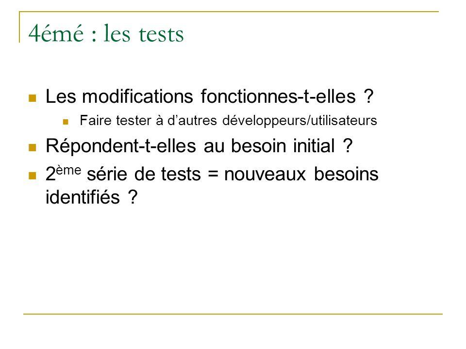 4émé : les tests Les modifications fonctionnes-t-elles ? Faire tester à dautres développeurs/utilisateurs Répondent-t-elles au besoin initial ? 2 ème