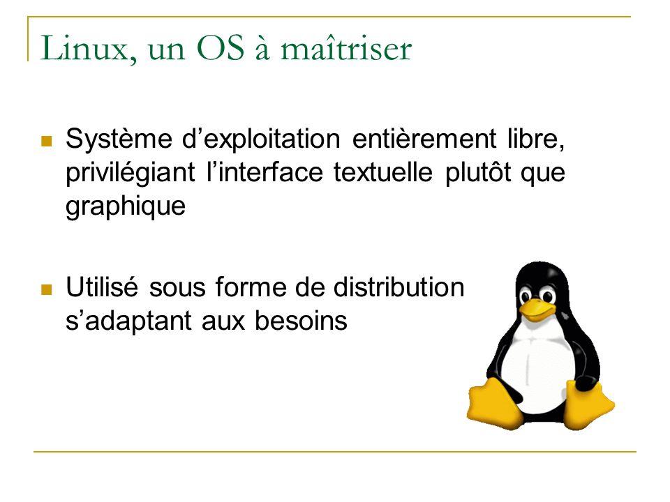 Linux, un OS à maîtriser Système dexploitation entièrement libre, privilégiant linterface textuelle plutôt que graphique Utilisé sous forme de distrib