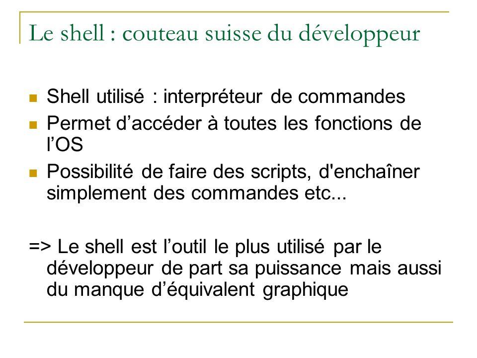 Le shell : couteau suisse du développeur Shell utilisé : interpréteur de commandes Permet daccéder à toutes les fonctions de lOS Possibilité de faire