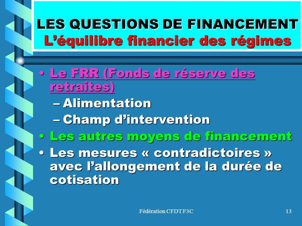 Fédération CFDT F3C13 LES QUESTIONS DE FINANCEMENT Léquilibre financier des régimes Le FRR (Fonds de réserve des retraites)Le FRR (Fonds de réserve de