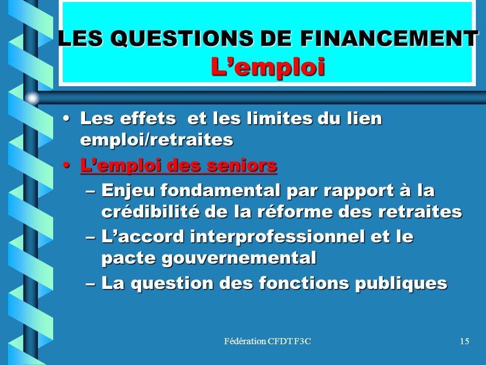Fédération CFDT F3C15 LES QUESTIONS DE FINANCEMENT Lemploi Les effets et les limites du lien emploi/retraitesLes effets et les limites du lien emploi/
