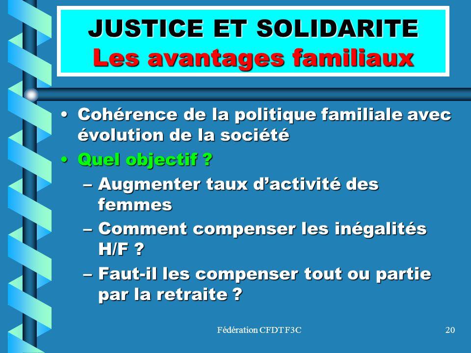 Fédération CFDT F3C20 JUSTICE ET SOLIDARITE Les avantages familiaux Cohérence de la politique familiale avec évolution de la sociétéCohérence de la po