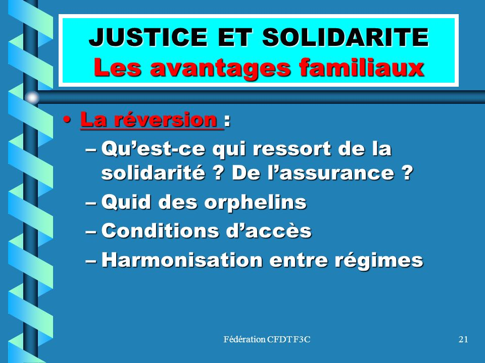Fédération CFDT F3C21 JUSTICE ET SOLIDARITE Les avantages familiaux La réversion :La réversion : –Quest-ce qui ressort de la solidarité ? De lassuranc