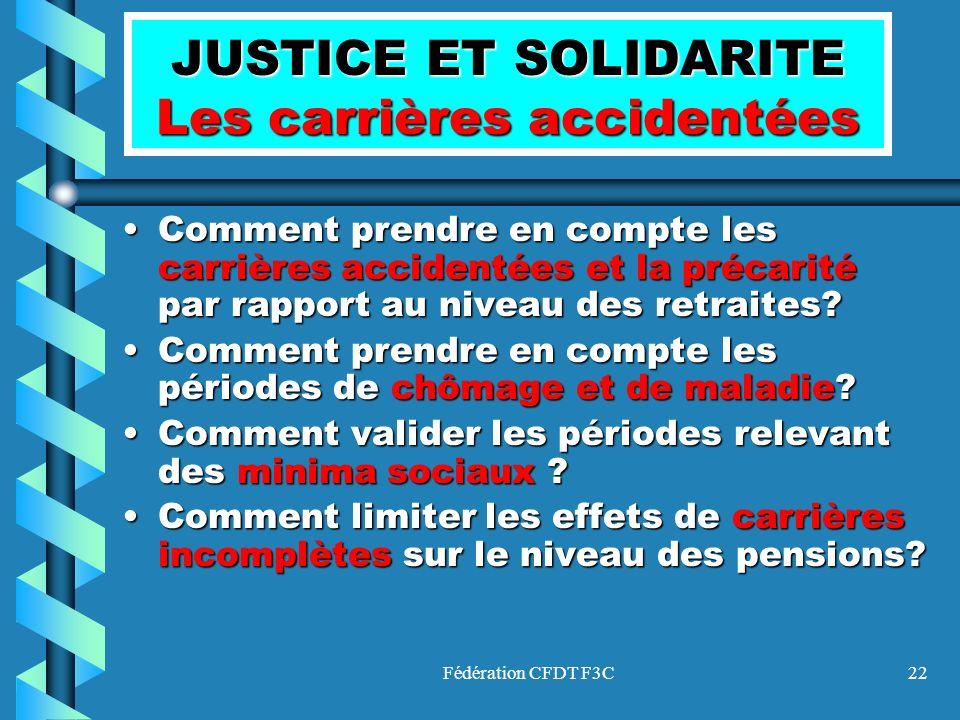 Fédération CFDT F3C22 JUSTICE ET SOLIDARITE Les carrières accidentées Comment prendre en compte les carrières accidentées et la précarité par rapport