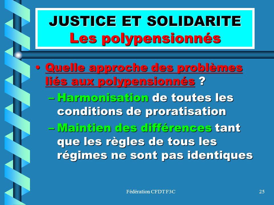 Fédération CFDT F3C25 JUSTICE ET SOLIDARITE Les polypensionnés Quelle approche des problèmes liés aux polypensionnés ?Quelle approche des problèmes li