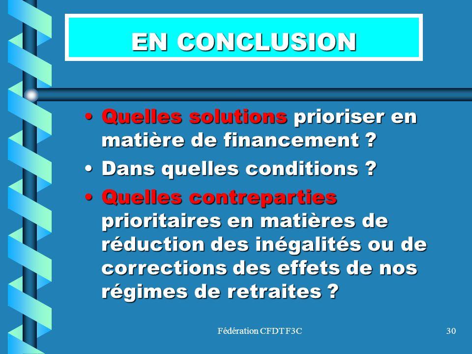 Fédération CFDT F3C30 EN CONCLUSION Quelles solutions prioriser en matière de financement ?Quelles solutions prioriser en matière de financement ? Dan