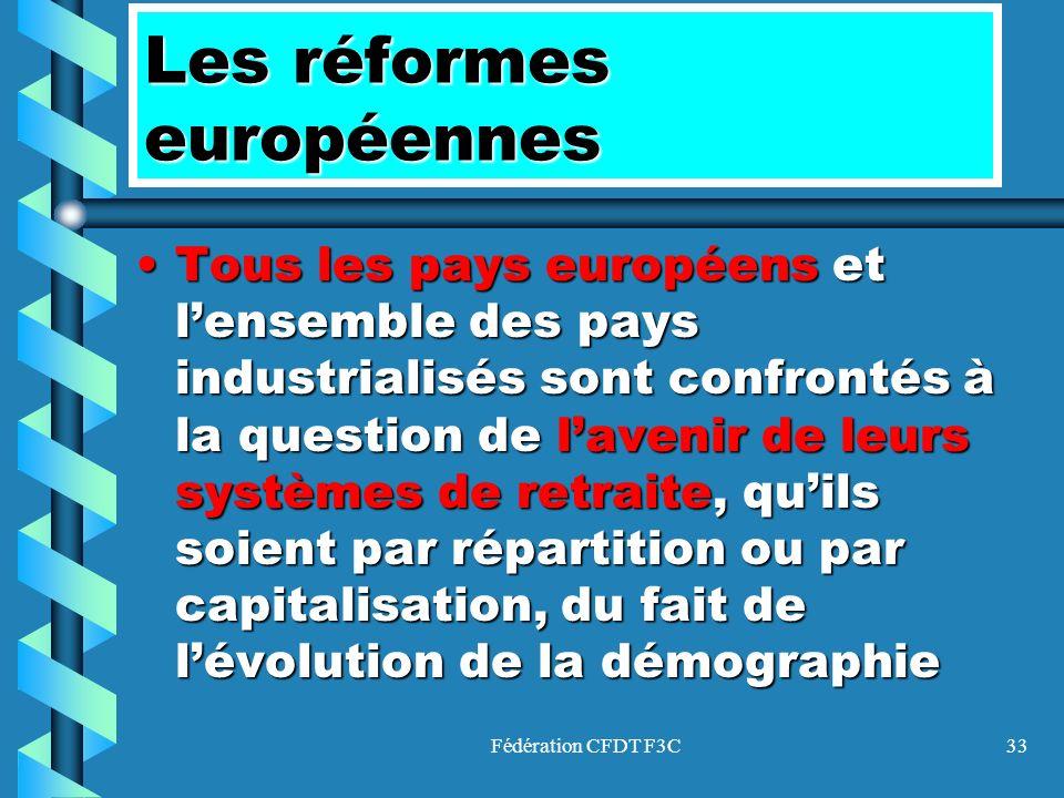 Fédération CFDT F3C33 Les réformes européennes TousTous les pays européens européens et lensemble des pays industrialisés sont confrontés à la questio