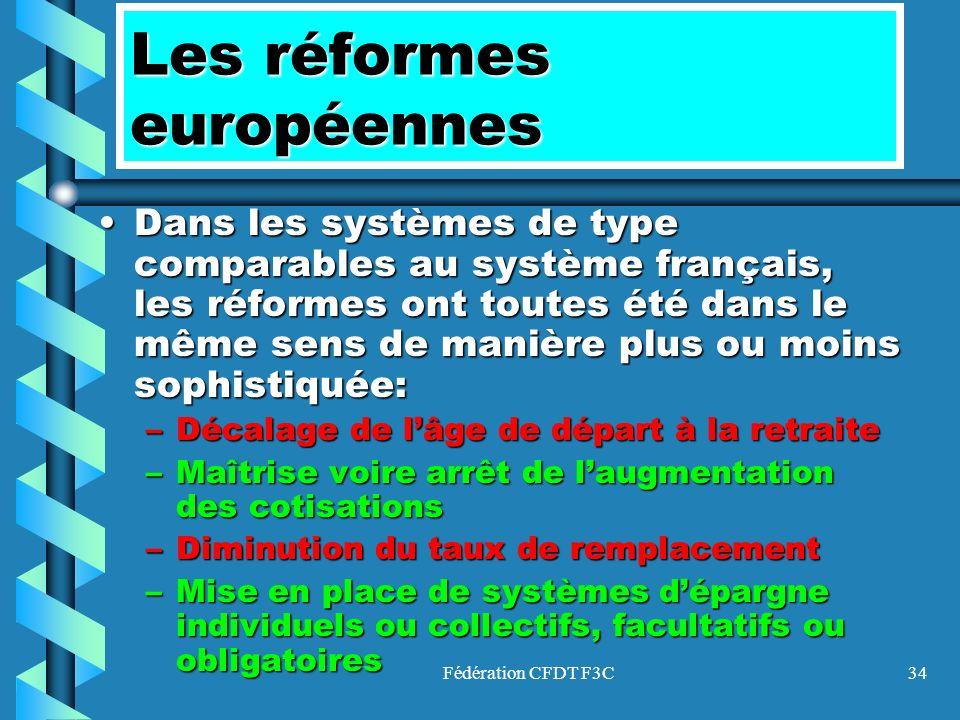 Fédération CFDT F3C34 Les réformes européennes Dans les systèmes de type comparables au système français, les réformes ont toutes été dans le même sen