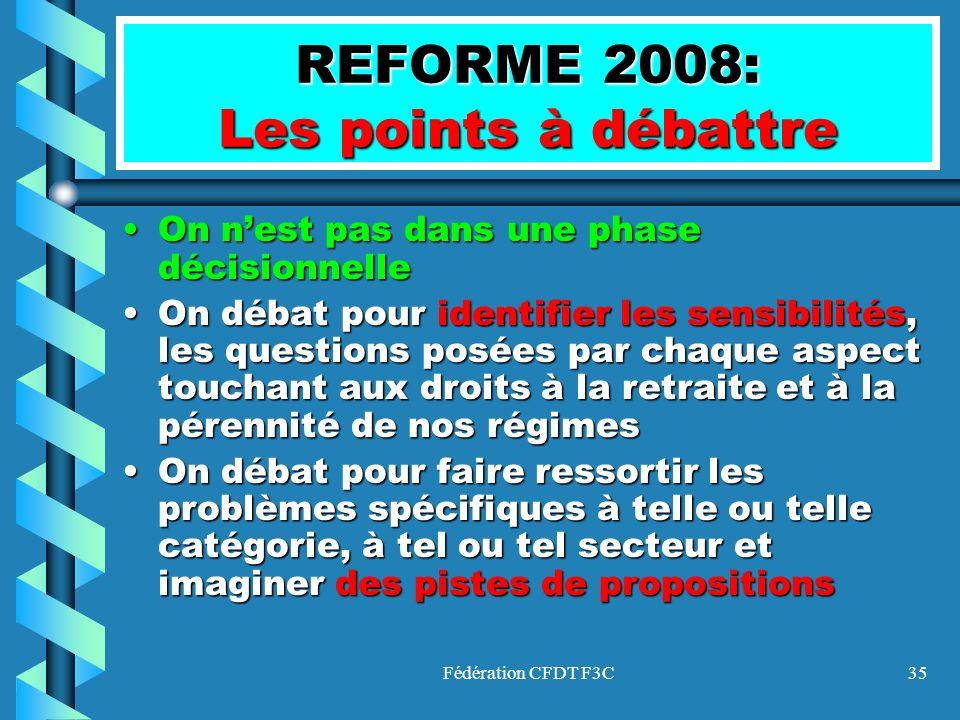 Fédération CFDT F3C35 REFORME 2008: Les points à débattre On nest pas dans une phase décisionnelleOn nest pas dans une phase décisionnelle On débat po