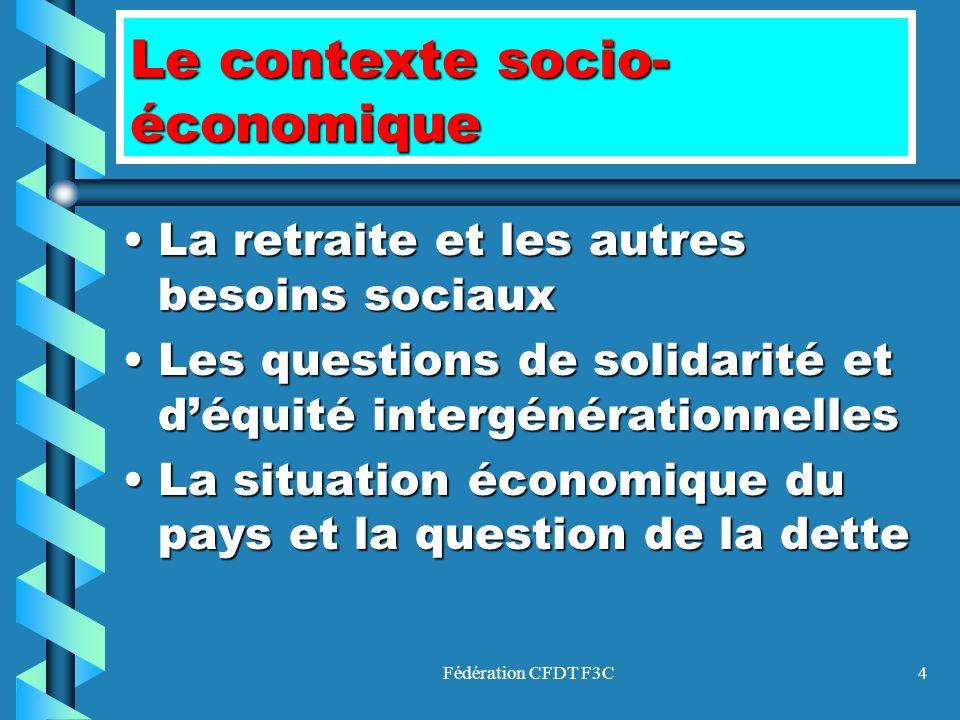 Fédération CFDT F3C4 Le contexte socio- économique La retraite et les autres besoins sociauxLa retraite et les autres besoins sociaux Les questions de