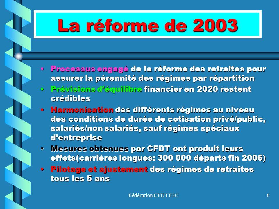 Fédération CFDT F3C6 La réforme de 2003 Processus engagé de la réforme des retraites pour assurer la pérennité des régimes par répartitionProcessus en