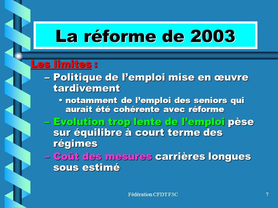 Fédération CFDT F3C8 La réforme de 2003 Les limites :Les limites : –Déséquilibre à court et moyen terme (2005/2010) –Financement des régimes du public par laugmentation de la cotisation employeur pose question de cohérence avec réduction de la dette