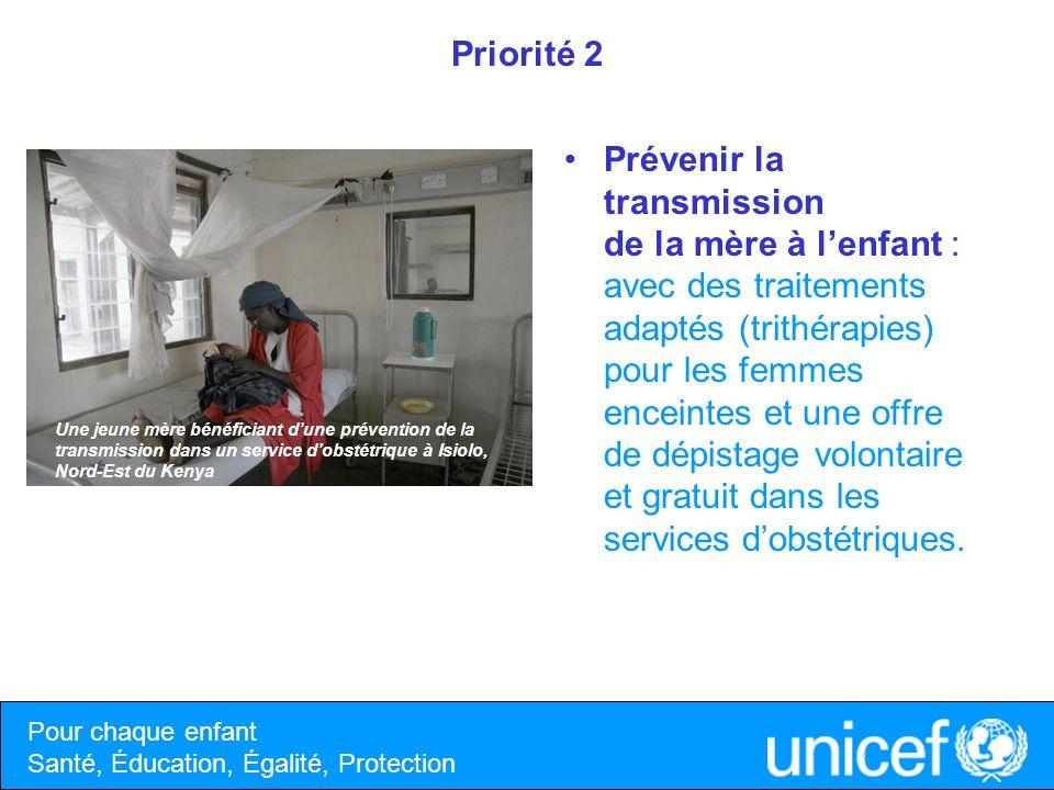 Priorité 2 Prévenir la transmission de la mère à lenfant : avec des traitements adaptés (trithérapies) pour les femmes enceintes et une offre de dépis