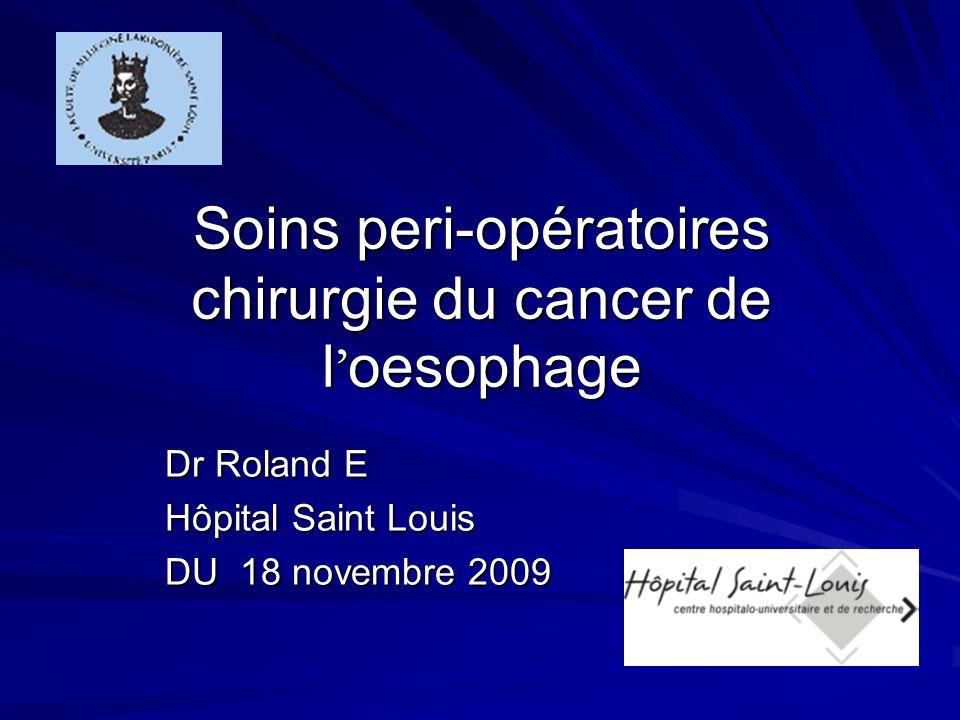 Soins peri-opératoires chirurgie du cancer de l oesophage Dr Roland E Hôpital Saint Louis DU 18 novembre 2009