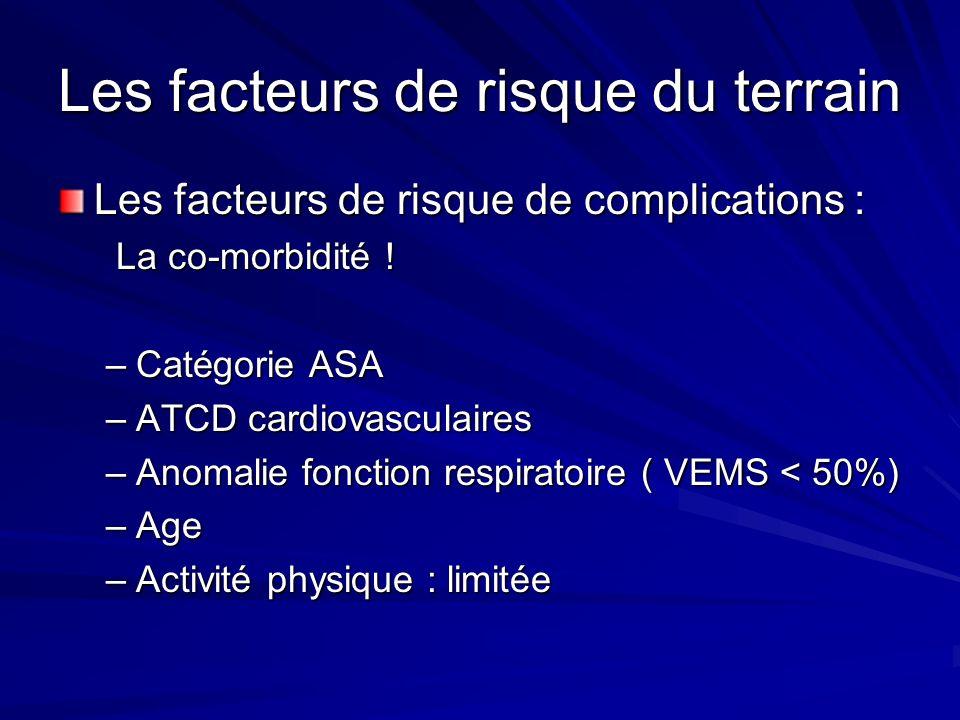 Les facteurs de risque du terrain Les facteurs de risque de complications : La co-morbidité ! La co-morbidité ! –Catégorie ASA –ATCD cardiovasculaires