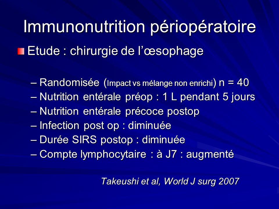Immunonutrition périopératoire Etude : chirurgie de lœsophage –Randomisée ( Impact vs mélange non enrichi ) n = 40 –Nutrition entérale préop : 1 L pen