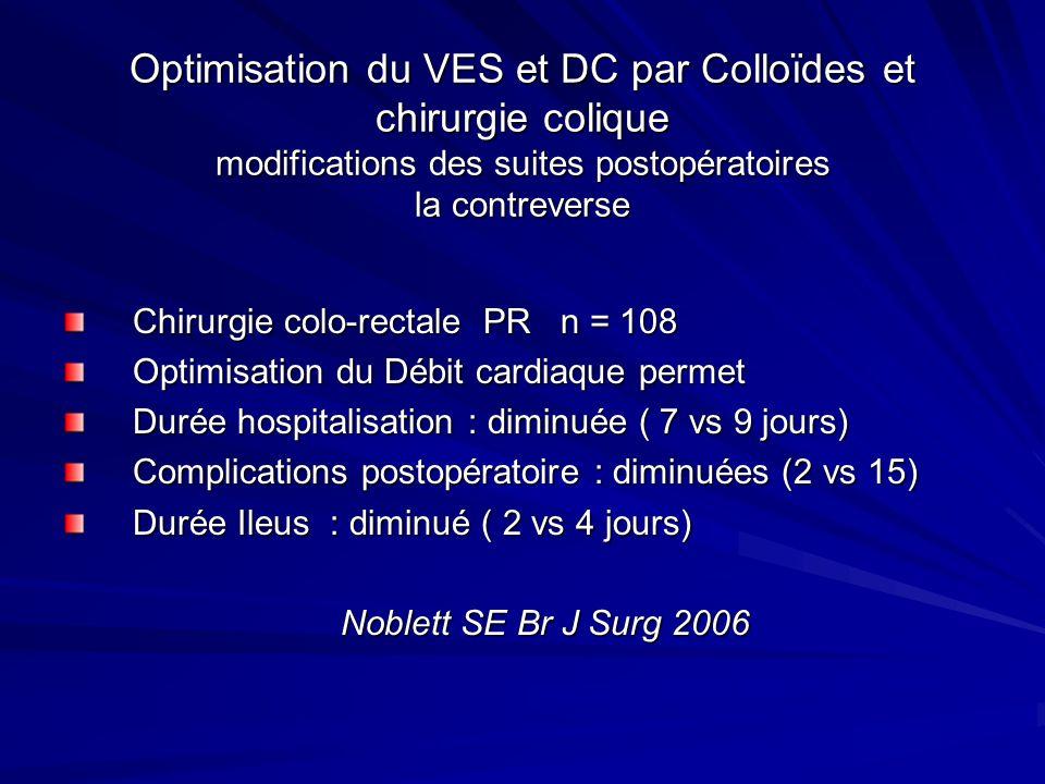 Optimisation du VES et DC par Colloïdes et chirurgie colique modifications des suites postopératoires la contreverse Chirurgie colo-rectale PR n = 108