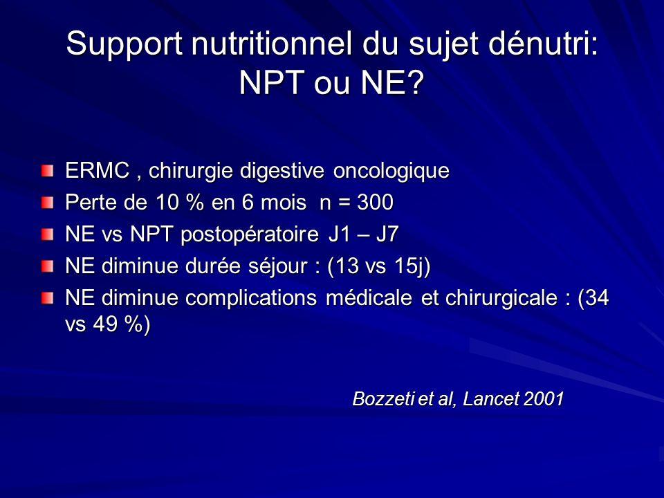 Support nutritionnel du sujet dénutri: NPT ou NE? ERMC, chirurgie digestive oncologique Perte de 10 % en 6 mois n = 300 NE vs NPT postopératoire J1 –
